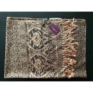 NWT pashmina style shawl, black/bronze